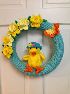Crocheted Wreath  Another Spring Wreath with Daffodils 2015