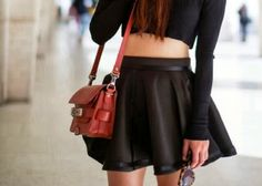 How to Chic: LEATHER SKATER SKIRT - CROP TOP