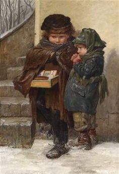 Artist : Agathe Rostel (German - Title : The young lottery / Ticket sellers Date : Century Medium : oil on canvas Dimensions : 85 x 59 cm Inscriptions : Signed ; Rostel ( The first rung of the ladder ) Classic Paintings, Paintings I Love, Beautiful Paintings, Munier, Illustration Art, Illustrations, Belle Photo, Art Pictures, Painting & Drawing