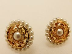 Gold Tone Vintage Napier Faux Pearl Earrings by TheEarringPlace