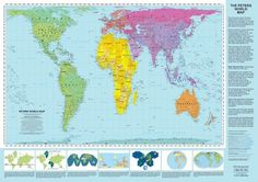 The Peters Projection World Map - attempts to give a truer representation of the relative sizes of continents
