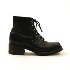 FRYE Lace Up Ankle Boots / Black Leather / Women's by SpunkVintage, $84.00
