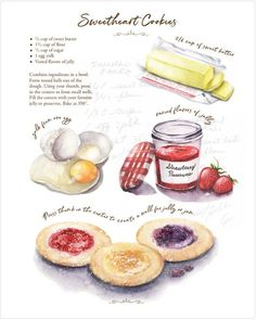 Recipe Drawing, Food Journal, Vintage Recipes, Culinary Arts, Food Illustrations, Aesthetic Food, Cookies Et Biscuits, Baking Recipes, Food And Drink