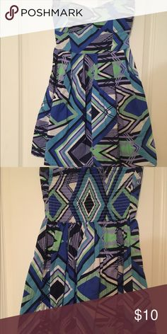 Colorful Strapless Dress Size Med Very fun Colorful Strapless Dress! Can be worn on any occasion! So cute with a cardigan and tights in the cold winter months! Colors are Blue/Green/Teal/Lavendar! Size Medium! Derek Heart Dresses Strapless