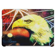 Patriot Bald Eagle Fireworks iPad Air Case *Personalize* with Name or saying