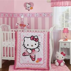 Hello Kitty Ballerina baby crib bedding by Bedtime Originals. Pink, white and orange crib bedding perfect for any baby girl. Hello Kitty dances into your nursery. Cama Da Hello Kitty, Hello Kitty Lit, Hello Kitty Bedroom Set, Hello Kitty Zimmer, Hello Kitty Nursery, Hello Kitty Themes, Baby Kitty, Girls Bedroom, Cat Bedroom