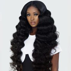 Wavy Long Wigs For African American Women The Same As The Hairstyle In The Picture - Wigs For Black Women - Lace Front Wigs, Human Hair Wigs, African American Wigs, Short Wigs, Bob Wigs Girls Natural Hairstyles, Long Face Hairstyles, Bob Hairstyles, Straight Hairstyles, Trendy Hairstyles, Black Hairstyles, Pixie Haircuts, Beautiful Hairstyles, Summer Hairstyles