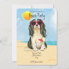 Summer Cavalier Beach Party Invitation   adorable pugs, lab gifts, funny drinking gifts #christmas #pugsocks #pugcollections King Charles Spaniel, Cavalier King Charles, Weird Gifts, Crazy Gifts, Pug Pillow, Beach Party Invitations, Cane Corso Dog, Baby Pugs, Invite Your Friends
