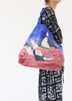 Parachute canvas in Iceberg print, amazing colors, oversized large tote. tall x wide x deep. Lined with inside pocket. Made in France. Printed Tote Bags, Large Tote, Gym Bag, France, Deep, Prints, Pocket, Canvas, Colors