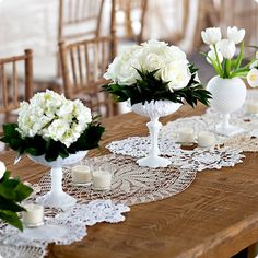 milkglass and lace runner