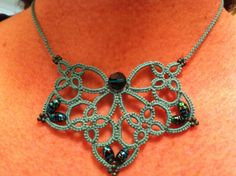 Tatted Necklace in turquoise/aqua, By Rubeania, on ETSY