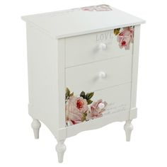 Wooden commode with roses