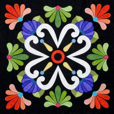 need to start collecting inspiration for some applique blocks Fiesta de Talavera Applique Patterns, Applique Quilts, Applique Designs, Embroidery Applique, Quilt Patterns, Embroidery Designs, Quilting Designs, Applique Wall Hanging, Mexican Pattern