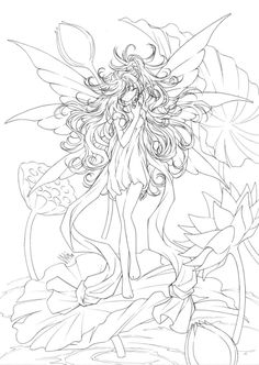 fairy-and-water-lilies-by-sureya-on-deviantart-anime-coloring-pages-for-adults-726x1024.jpg (726×1024)