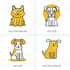Vector set of icons and signs in trendy linear style royalty-free stock vector art