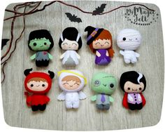Halloween ornaments SET of 19 cute Halloween ornament felt Halloween decor felt toys Halloween decorations  ★★★GET YOUR DISCOUNT!★★★ Buying a full set of 19 ornaments you save 5% of the cost and pay shipping cost for only one ornament! Choose the first line in the drop-down menu - BIG SET 19 ORNAMENTS (price and shipping cost already discounted)  This item is MADE TO ORDER, production time 2-3 weeks  BIG SET of 19 Halloween ornaments including:  #1 - Dracula #2 - Frankenstein #3 - bride of…