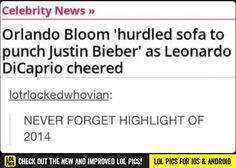 Orlando bloom hurdled sofa to punch Justin bieber as Leonardo DiCaprio cheered