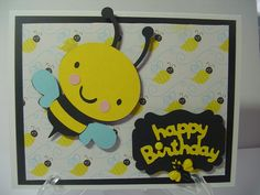 Bumble Bee Birthday Card Children Birthday Bumble by BethiesCards