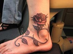 Rose tattoo on ankle - 60  Ankle Tattoos for Women  <3 <3