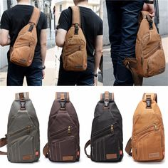 $19.77  Men Canvas Travel Hiking Crossbody Bag Casual Chest Bag is worth buying…crossbody bag| Leisure Shoulder Chest Bag| men\'s bags| men\'s shoulder bags|