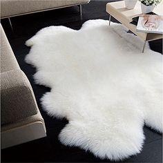 Plush Faux Fur Shaggy Shag - Soft Sheepskin Pelt Rug - Rectangle with Natural Edges RealisticWhite or Off White - Shag - Soft Ultra Suede Backing - Area Rug (8'x10', White)