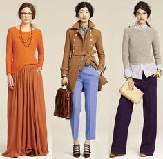 Yesterday, Jenna Lyons and Marissa Webb presented J.Crew's Fall 2011 collection at Industria Studios in NYC. Inspired by The Great Gatsby and Bonnie and Clyde, the collection highlighted rich saturated colors, some even neon, transformed into wide-legged