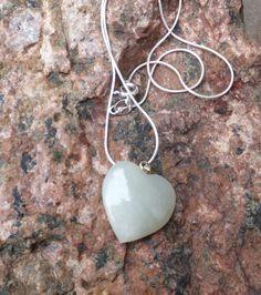 Heartful Pendant Jade Heart Sterling Silver   Bijoux Gem Joy