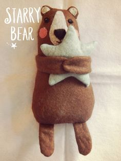 Cute Bear Hugging Star Plushie Children's Toy on Etsy, £15.00
