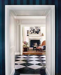 navy + white + marble checkerboard floors | ferguson shamamian architects