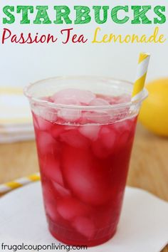 Copycat Starbucks Passion Tea Lemonade Recipe. More Starbucks Recipe, Copycat Recipes and Drink Recipes on Frugal Coupon Living.