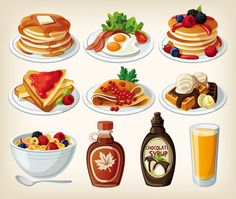 10 models cartoon food design - vector graphics