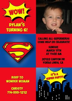 Superman Birthday Party Invitations from Announce It! Find the perfect birthday invites for celebrating with your little super hero 5th Birthday Boys, Superman Birthday Party, Superhero Party, Birthday Ideas, Birthday Stuff, Superman Invitations, Kids Birthday Party Invitations, Birthday Cards, Birthday Parties