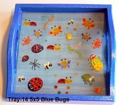 wood tray with a buggy theme sealed in resin. Great for kids! Wood Tray, Trays, Handcrafted Jewelry, Magnets, Polymer Clay, Resin, Kids, Handmade Chain Jewelry, Young Children