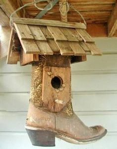 Cowboy or Cowgirl Boot Birdhouse