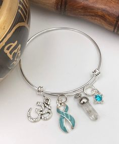 53249012a Chronic Illness Bracelet – Light Blue Ribbon – Addison's, Behcets, Grave's  Disease, Cushing Syndrome, Scleroderma - Healing Quartz Crystal