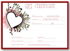 Abstract heart gift certificate template