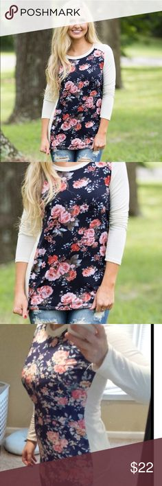SALE 💠Floral Favorite T-Shirt💠 Floral design on front of this long sleeve t-shirt and contrasting white sleeve color to offset and display this gorgeous bouquet blouse. Tops Tees - Long Sleeve