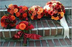 Dahlia bouquets by jillouci, via Flickr- - - Pretty colors and I love the dhalias!