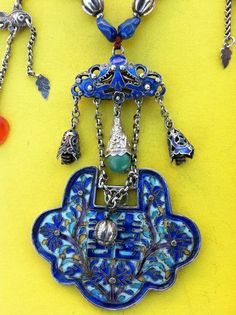 Antique Qing Chinese Silver Enamel lock pendant