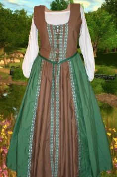 Renaissance Medieval Gown SCA Garb Sherwood Forest 2pcCtn Lacing Bodice Drstr SktLXL (This lady does really good stuff)