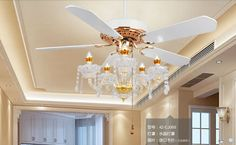 Crystal ceiling chandelier lamp fan restaurant Fan lamp crystal chandelier Fan lights continental simple American 52inch(China (Mainland))