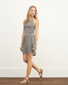 Womens Lace High Neck Skater Dress | Supersoft and pretty all-over lace with a high neck, skinny straps and skater silhouette | Abercrombie.com