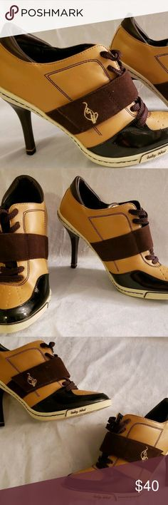 aa6cba05595 Baby Phat Ankle Booties, Brown and Tan, Size 7.5 Baby Phat Ankle Booties,