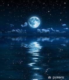 Astronomy & Space art prints at FreeArt. Night Sky Moon, Night Sea, Ocean At Night, Night Clouds, Good Night Moon, Stars At Night, Night Night, Moon Wallpaper, Night Sky Wallpaper