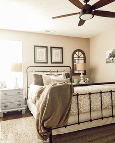 We love this addition to 's bedroom! Our Channelside fan ties in her decor and color pallet perfectly! Shop the Channelside at . Southern Cottage, Bedroom Ideas, Bedroom Decor, Vintage Apartment, Bronze Ceiling Fan, Dark Furniture, Ceiling Fan With Remote, Farmhouse Master Bedroom, Aesthetic Room Decor