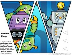 """Free Robot Birthday Party Printables for you to print out and create a fun and amazing robot world for your kid's birthday! We have Robot Birthday Party Food Ideas and Decoration ideas. Robot snacks like """"Metal"""", """"Robot Fuel"""", """"Computer Chips"""" and more. Robot Games For Kids, Birthday Party Games, Free Birthday, 5th Birthday, Party Flags, Party Printables, Space Printables, Tent Cards, Bunting Banner"""