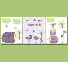 You are my sunshine, Purple and green  Nursery Art Print Set, 8x10, Kids Room Decor -  Hedgehog, you are my sunshine on Etsy, $39.95