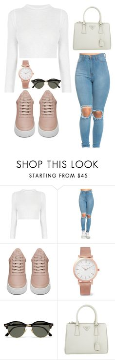 """""""WHOLE TIME THEY WANNA TAKE MY PLACE, I CAN TELL THAT , THAT LOVE IS FAKE"""" by yourlovewillneverlast ❤ liked on Polyvore featuring Filling Pieces, Larsson & Jennings, Ray-Ban and Prada"""