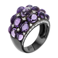 Cabochon Purple Amethyst Micro Pave Diamond gold Ring | From a unique collection of vintage cocktail rings at https://www.1stdibs.com/jewelry/rings/cocktail-rings/