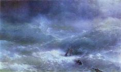 Storm, 1889 by Ivan Aivazovsky. Romanticism. marina